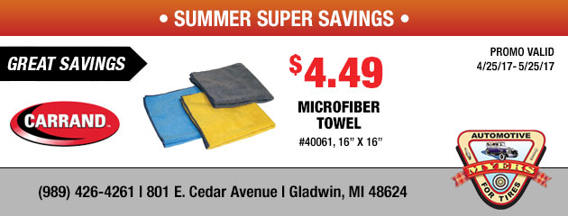 $4.49 Mirofiber Towels