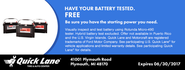 HAVE YOUR BATTERY TESTED. FREE