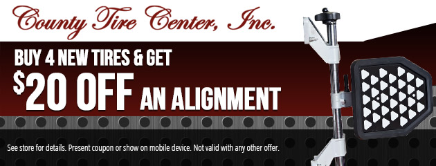 Buy 4 New Tires & Get $20 OFF an Alignment