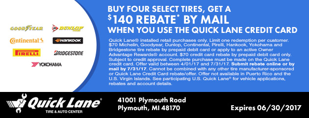 BUY FOUR SELECT TIRES, GET UP TO $140 IN MAIL-IN REBATE