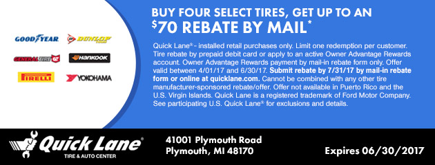 BUY FOUR SELECT TIRES, GET UP TO $70 IN MAIL-IN REBATE