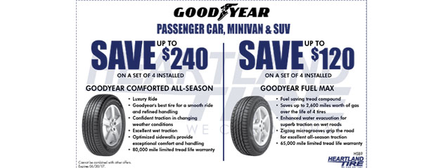 Save up to $240 on Goodyear Tires