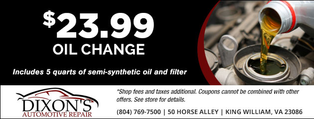 $23.99 Oil Change Special