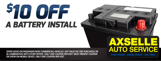 $10 Off a Battery Install Special