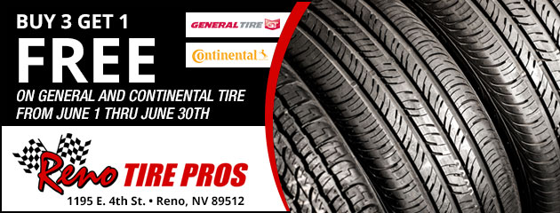 Buy 3 Get 1 Free on General and Continental Tires
