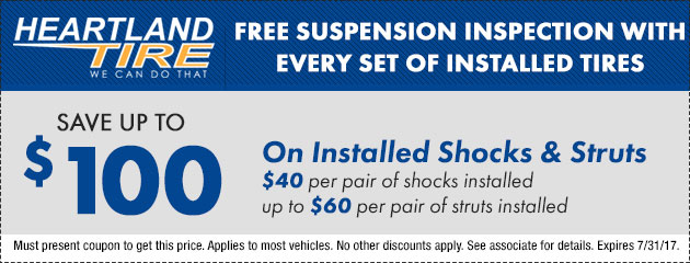 Save up to $100 on Installed Shocks and Struts