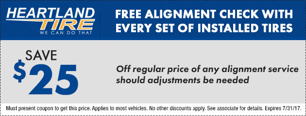 Save $25 Off Regular priced Alignment