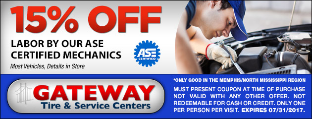 15% OFF Labor by our ASE Certified Mechanics