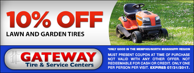10% OFF All Lawn and Garden Tires