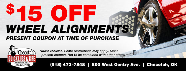 Save $15 on Wheel Alignments