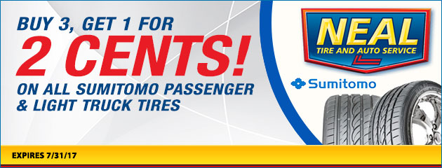 Buy 3 Sumitomo Tires, Get 1 for 2 Cents!