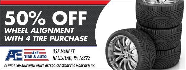 50% Off Wheel Alignment with 4 Tire Purchase.