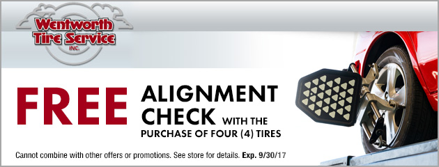 Free alignment check with the purchase of four tires