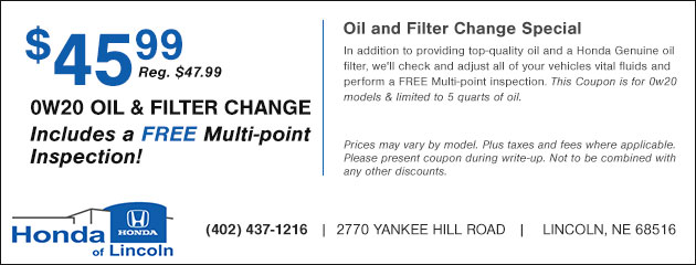 $45.99 0W20 Oil and Filter Change plus a Free Multi-point Inspection