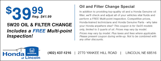 $39.99 5W20 Oil and Filter Change plus a Free Multi-point Inspection