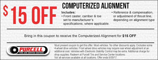 $15 Off Computerized Alignment Special