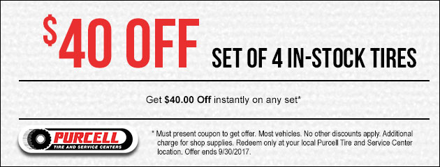 $40 Off a set of in-stock tires