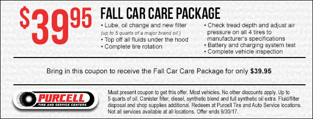 Receive the Fall Car Care Package for only $39.95