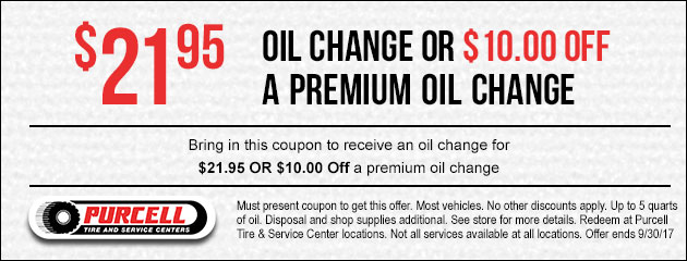 Receive a standard oil change for $21.95 OR $10.00 Off a premium oil change