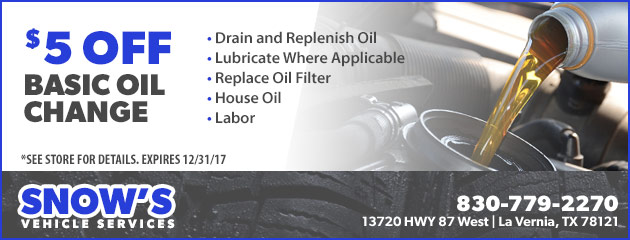 $5 Off Basic Oil Change