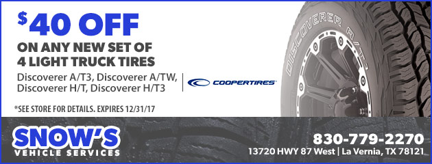 $40 Off On Any New Set Of 4 Light Truck Tires