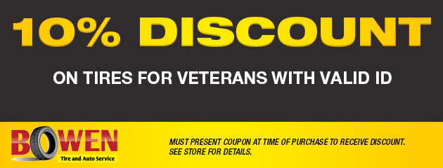 10% Discount On Tires for Veterans With Valid ID