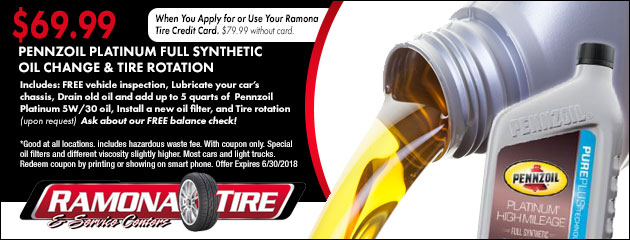 $69.99 Pennzoil Platinum Full Synthetic Oil Change & Tire Rotation