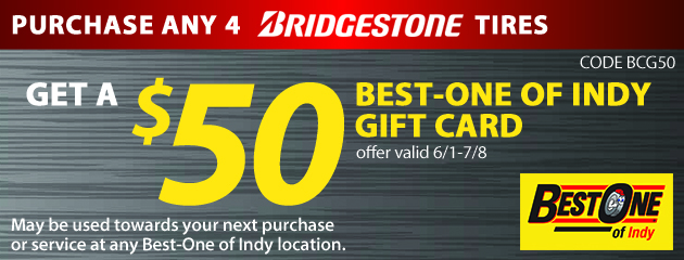 Get a $50 Best-One of Indy Gift Card with purchase