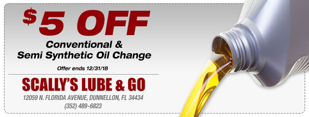 $5 Off Conventional and Semi Synthetic Oil Change