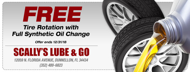 Free Tire Rotation With Full Synthetic Oil Change