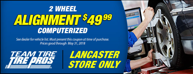 2 Wheel Alignment Special $49.99 (L)