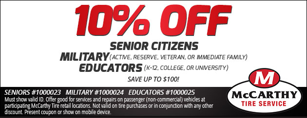 10% Off Senior Citizens, Military & Educators Discount