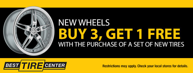 New Wheels, Buy 3 Get 1 FREE with the purchase of a set of new tires