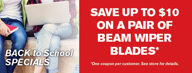 Save up to $10 on a Pair of Beam Wiper Blades