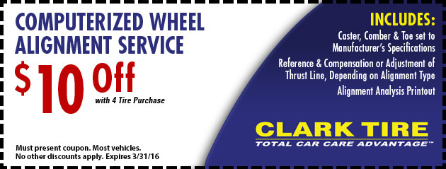 $10.00 Off Computerized Wheel Alignment Service