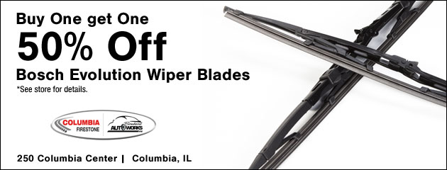 Buy One get One 50% off on Bosch Evolution wiper blades
