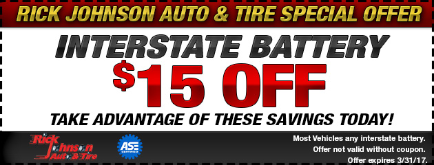 $15 off Interstate Battery