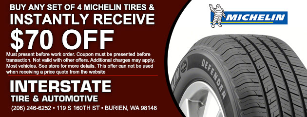 Buy a set of 4 Michelin tire and get $70 Off