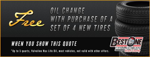 Free Oil Change with purchase of set of 4 new tires when you show this quote