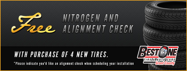 Free nitrogen and alignment check with purchase of 4 new tires.