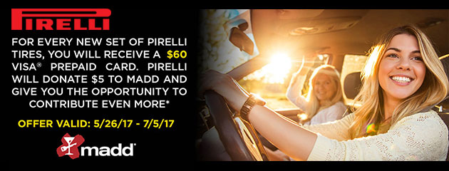 Pirelli - Receive a $60 Visa Prepaid Card
