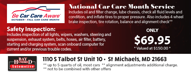 Be Car Care Aware Specials