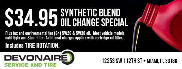 Synthetic Blend Oil Change $34.95
