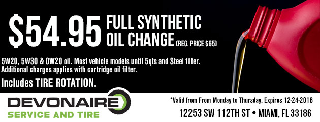 Full Synthetic Oil Change $54.95