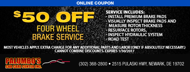 $50 Off Four Wheel Brake Service