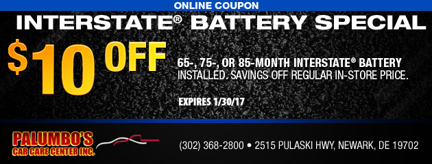 $10 Off Interstate® Battery Special