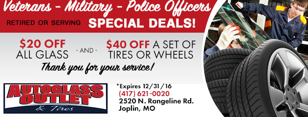 $20 off all Glass and $40 off a set of Tires or Wheels