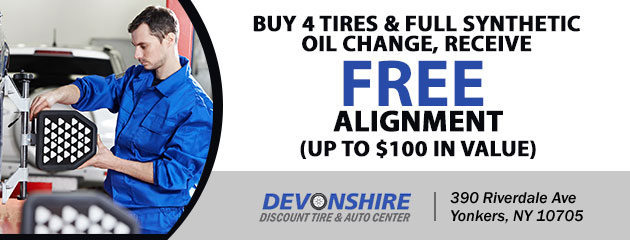 FREE Alignment with the purchase of 4 tires and full synthetic oil change