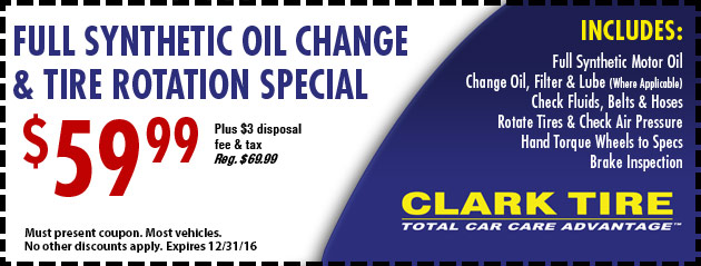 Full Synthetic Oil Change and Tire Rotation Special - $59.99