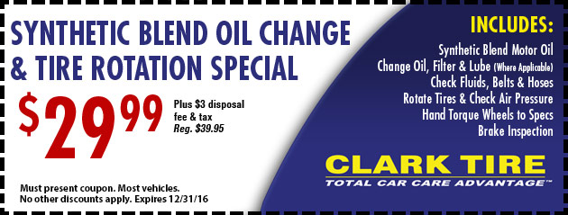 Synthetic Blend Oil Change and Tire Rotation Special - $29.99